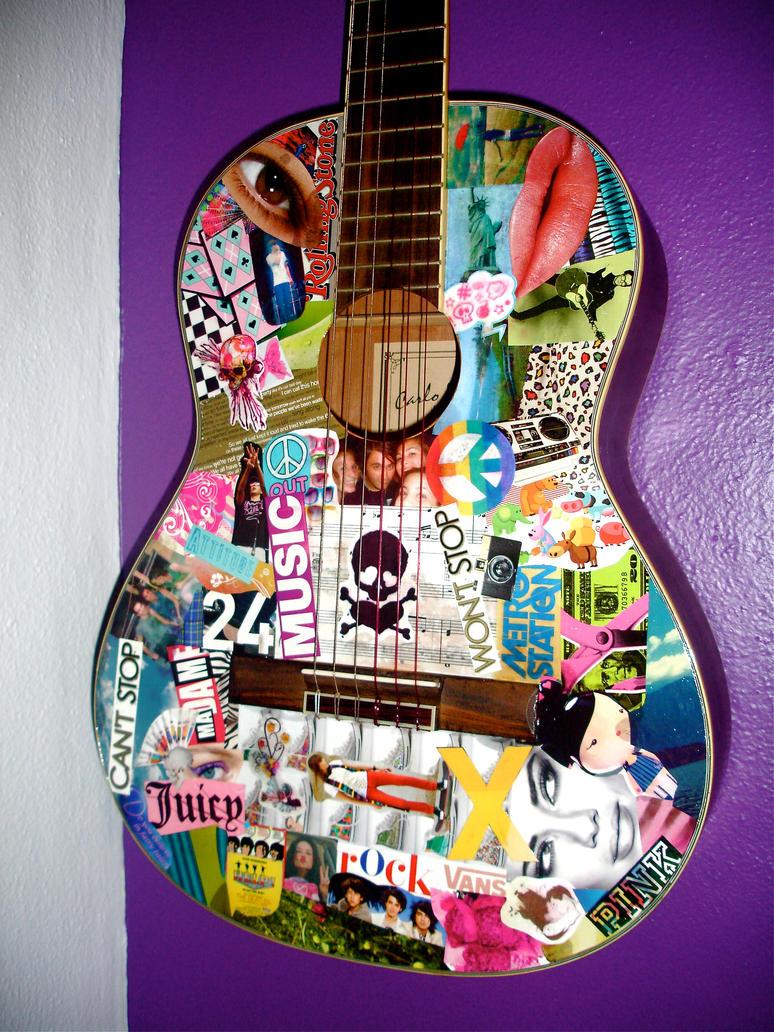 Decoupage acoustic guitar by cantstopwontstop24 on deviantart for Acoustic guitar decoration ideas
