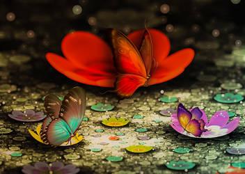Butterfly flower field