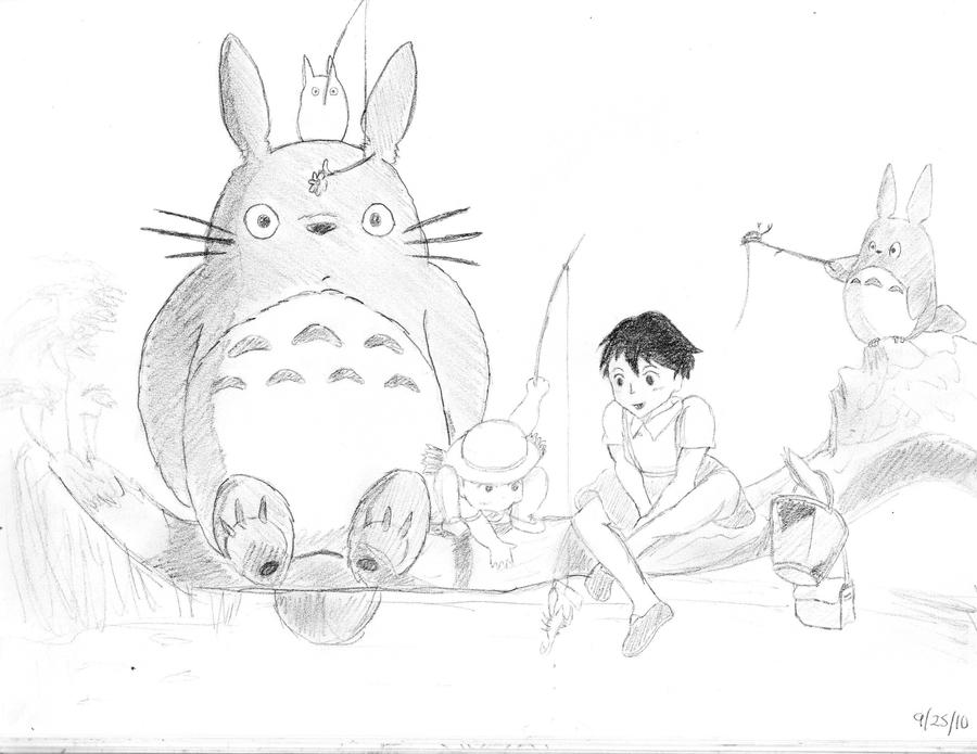 my neighbor totoro drawing - Neighbor Totoro Coloring Pages