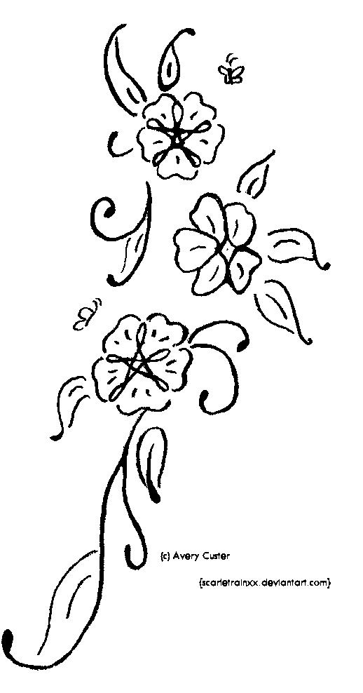 Flower Vine Line Drawing : Flower vine tattoo by scarletrainxx on deviantart