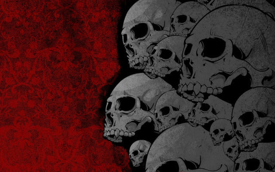 Red Grey Skulls Abstract by Sockdpoof
