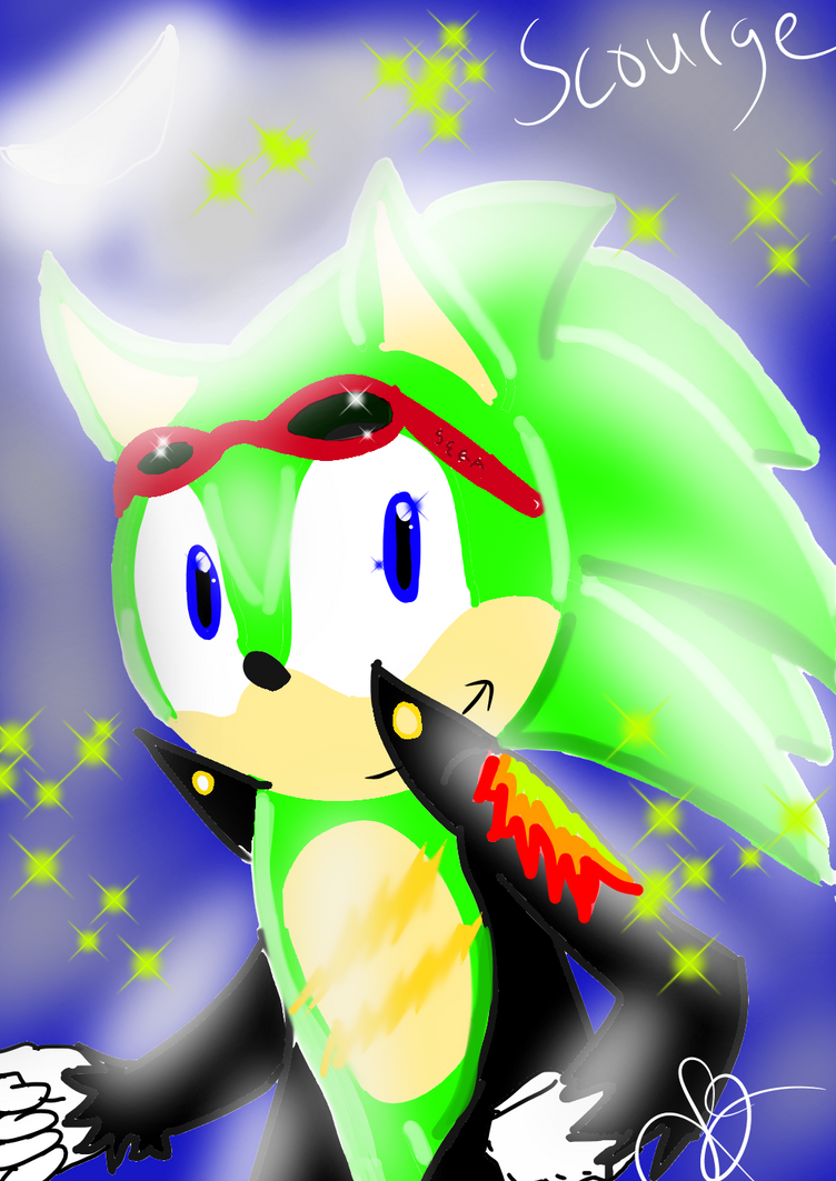 Scourge the Hedgehog Lit by Moonlight by Soshadilver