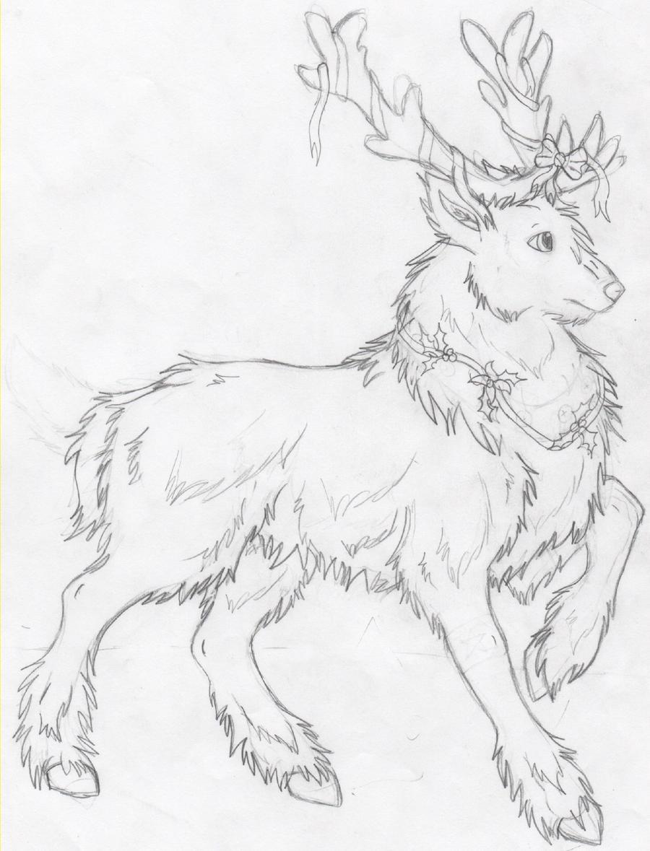 Santa And Reindeer Drawing