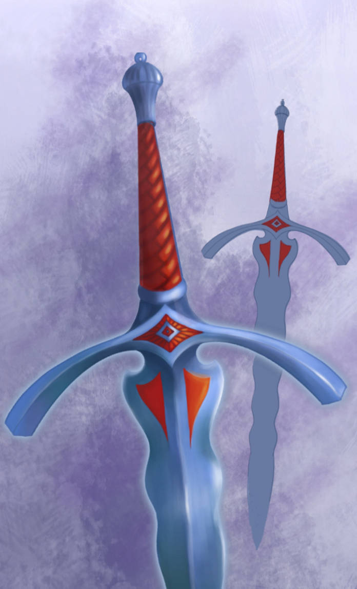 A sword in red and blue