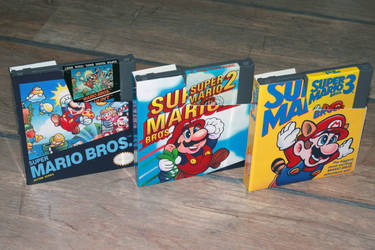 Nintendo 8-bit Super Mario games dustcovers FRONT. by Jaki33