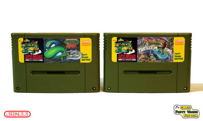 TURTLES SNES Party Wagon Edition - Cartridge Front by Jaki33