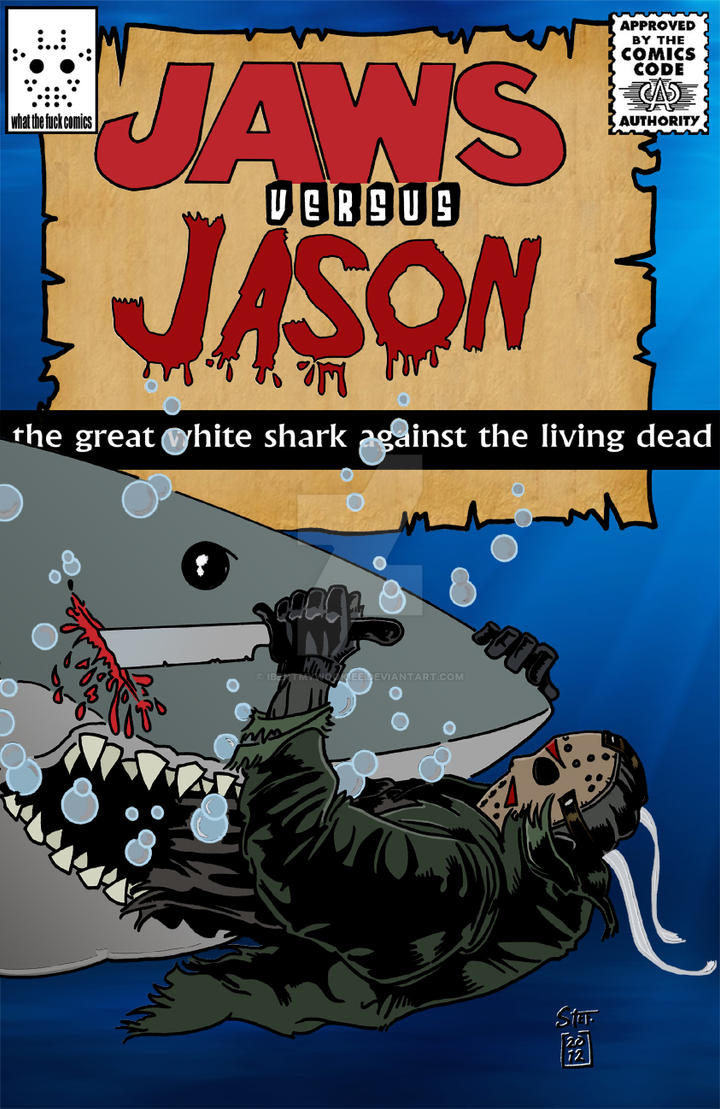 Jaws Book Cover Art : Jason versus jaws comic book by ibentmywookiee on deviantart