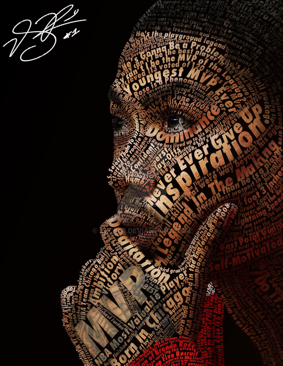 Derrick Rose Typeface Portrait by iNicko1