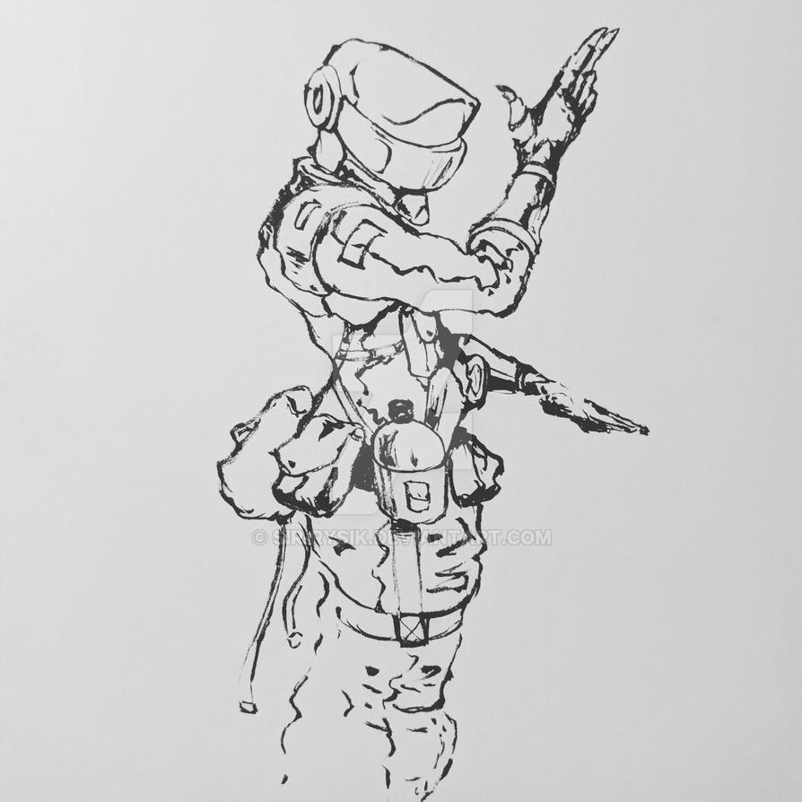 Inktober Day 31- The Sadistic Cyborg by Sir-Rysik