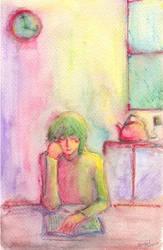 Clock, kettle, Fujiwara-san. by koony