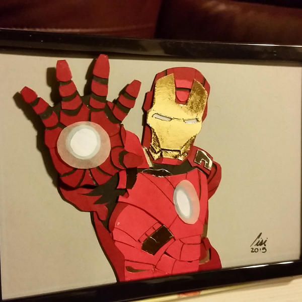 iron man layered paper cut art piece by blackdog393 on deviantart