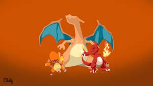 Fire Pokemon starters Minimalist