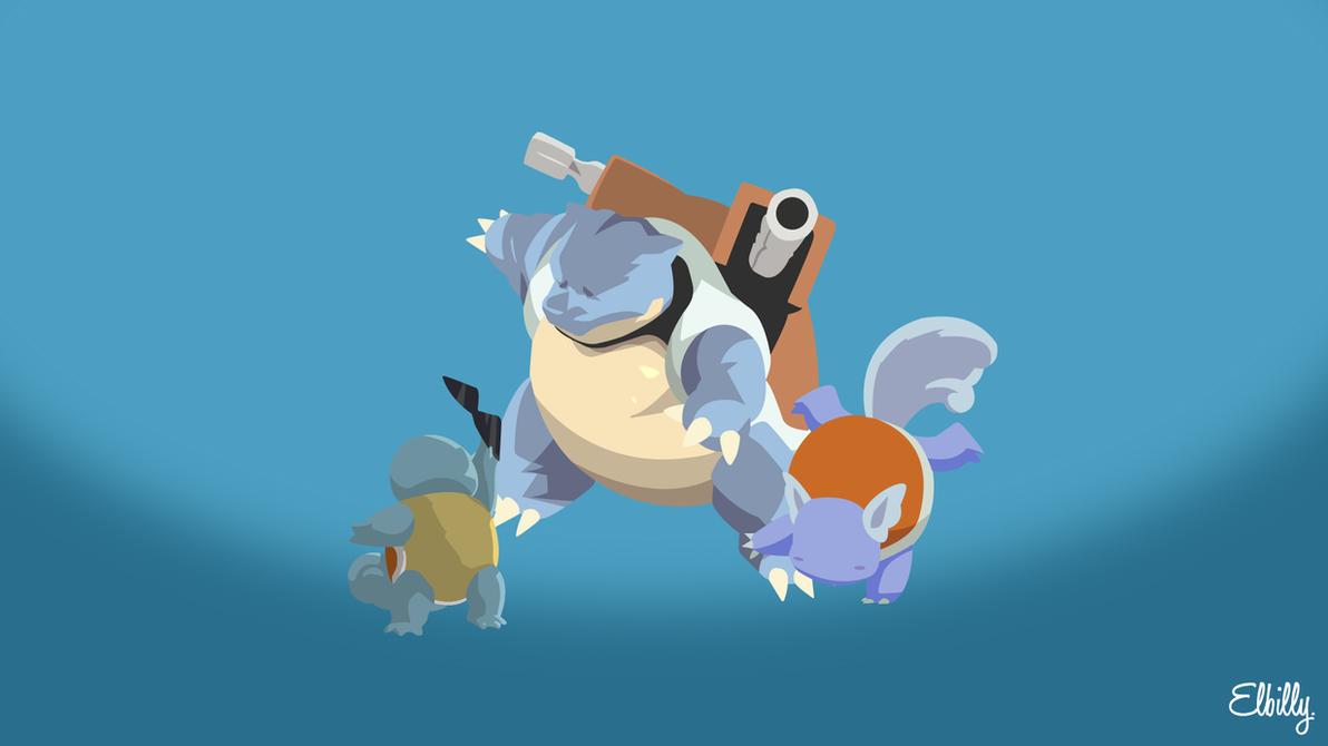 Water Pokemon starters by elbillyy