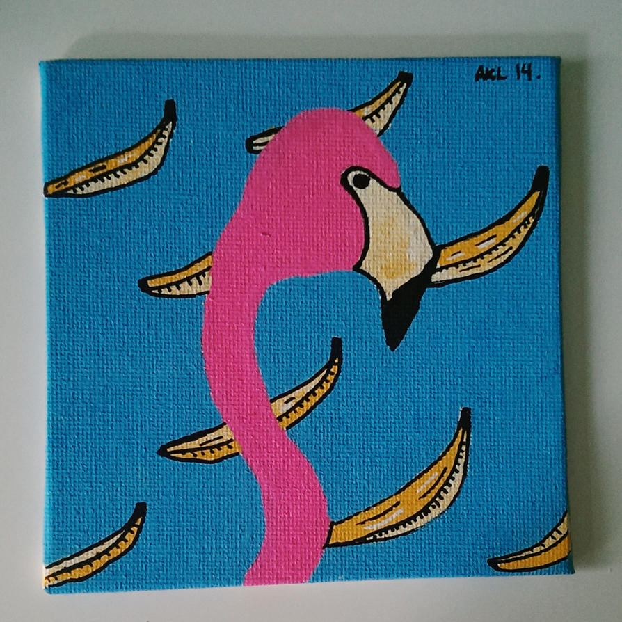 flamingo and bananas by AnalieKate