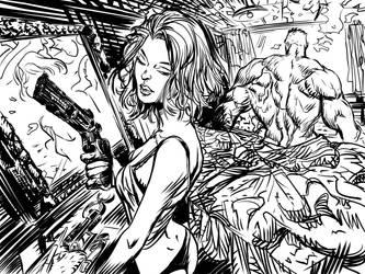 Natasha Romanoff Secret Lovers - Hulk (ink) by DanieleAfferni