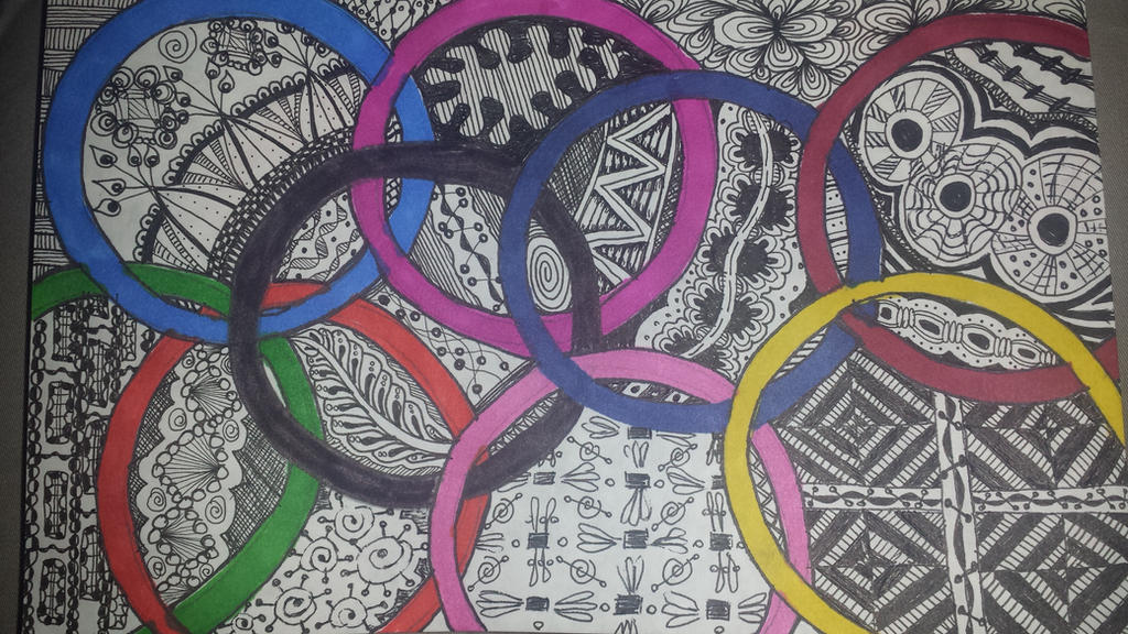 Zentangle Art With Color Color Circles Zentangle by