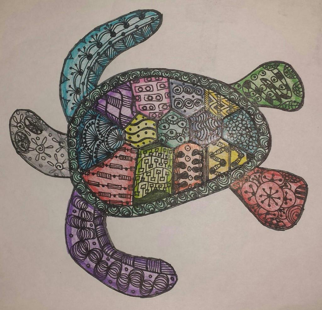 zentangle sea turtle in color by zenjen73 on deviantart
