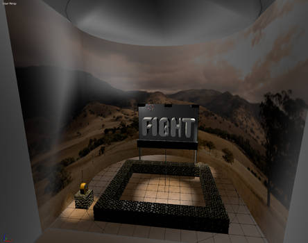 An abstract fighting area