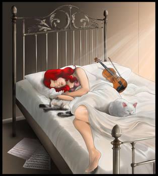 Rubina asleep with her cats by Ayhe
