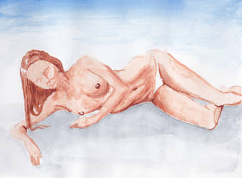 watercolor nude sketch by yalchinosis