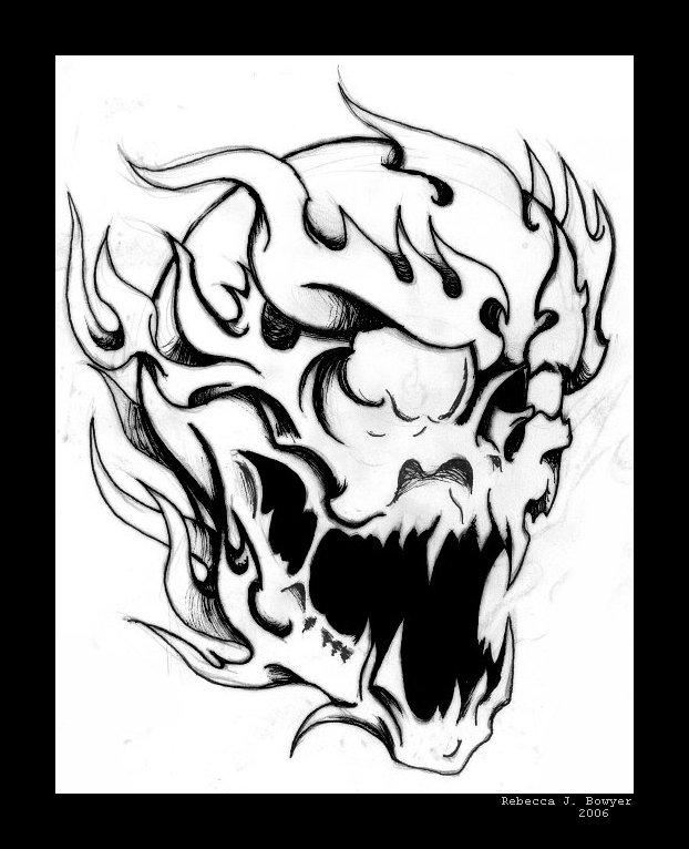 flaming skull coloring pages | Flaming Skull by mailorderchild on DeviantArt