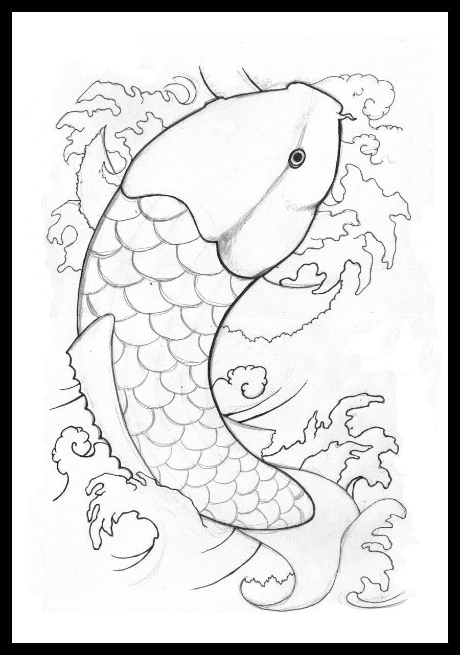 Koi art black and white for Black white koi