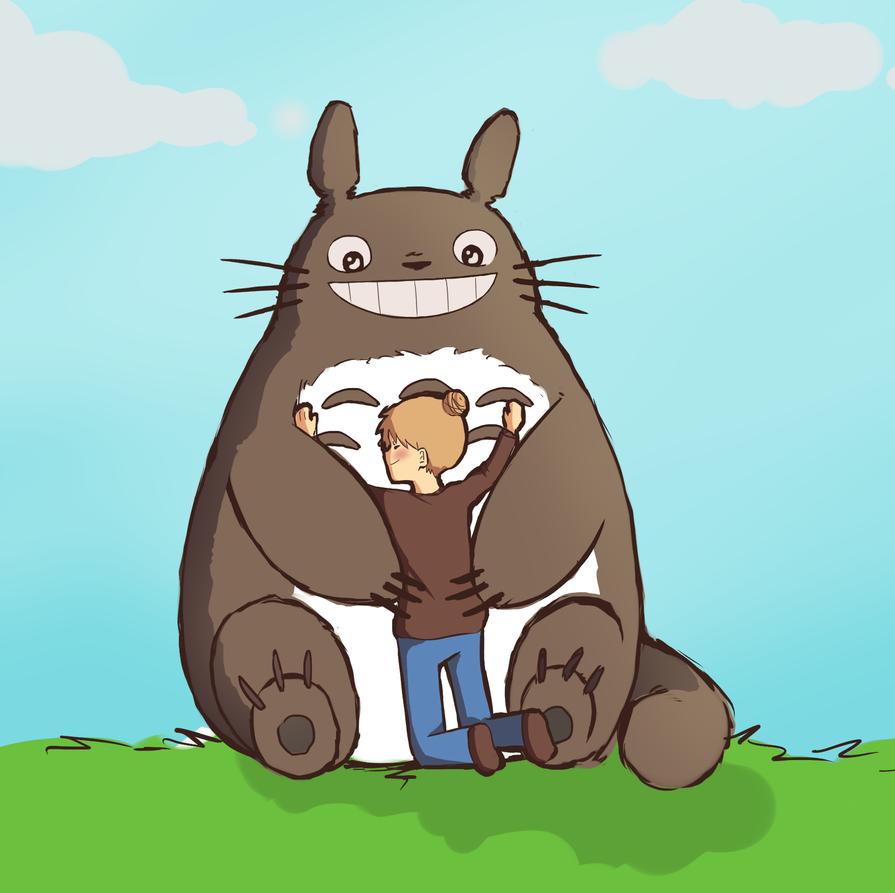 Totoro Hug by Misaka-Chan