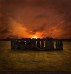 Stonehenge Sunset Stock