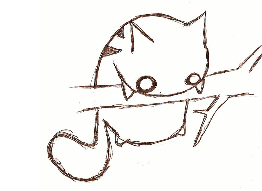 Chibi Anime Cat Drawing fat cat stuck by sobreinsart