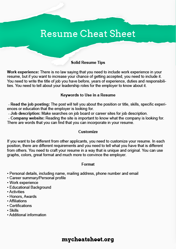 resume cheat sheet by mycheatsheet on deviantart