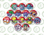 first generation grass type pokemon button designs