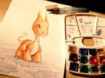 train painting , the little grumpy dragon