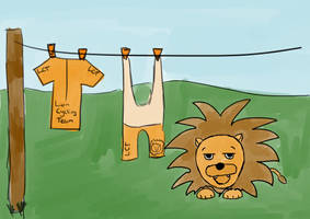 Bored Orange Lycra Lion - Tableau