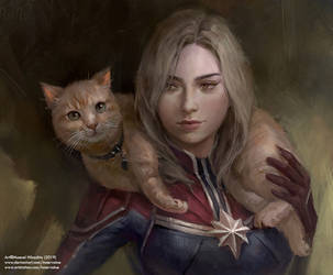 Carol Danvers and Goose by Innervalue