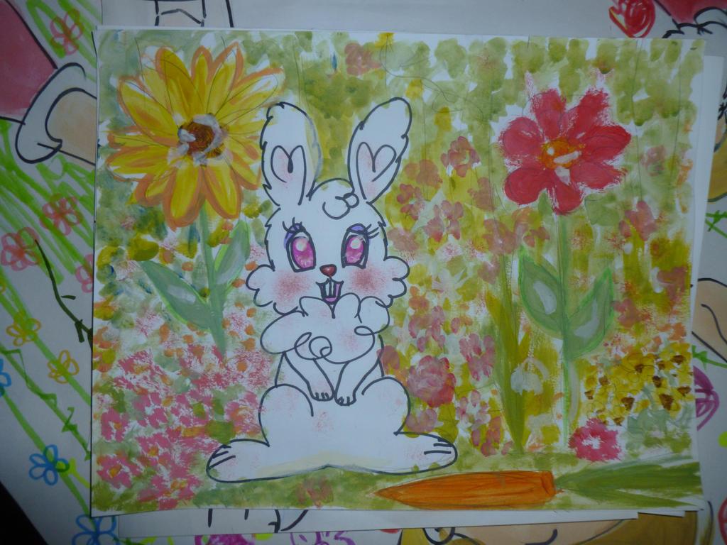 Bunny in flower field by 17cherry