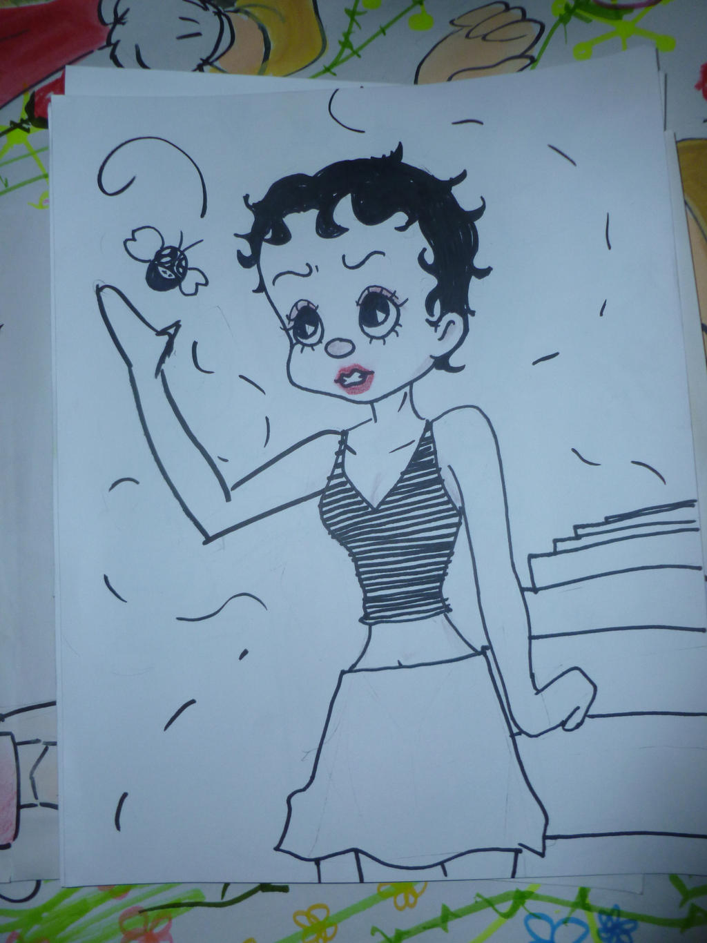 Cartoon girl with fly by 17cherry