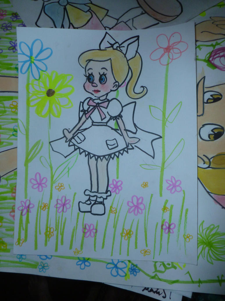 Cartoon girl with white dress by 17cherry