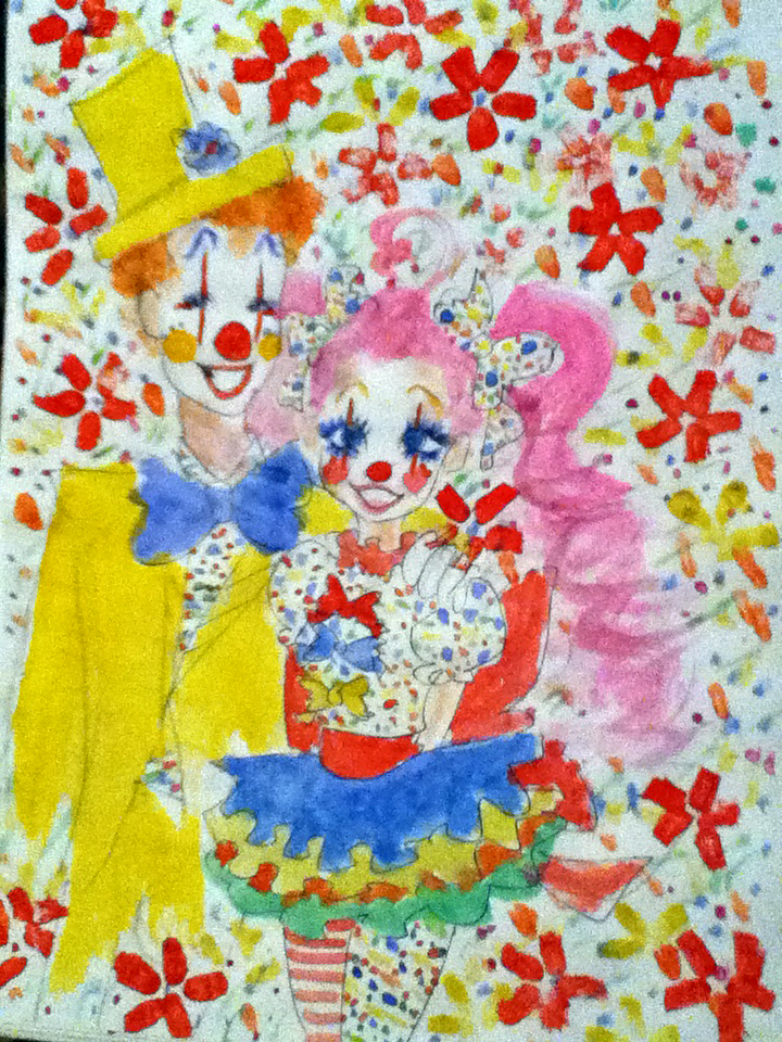 Konfetka and her clown-friend by 17cherry