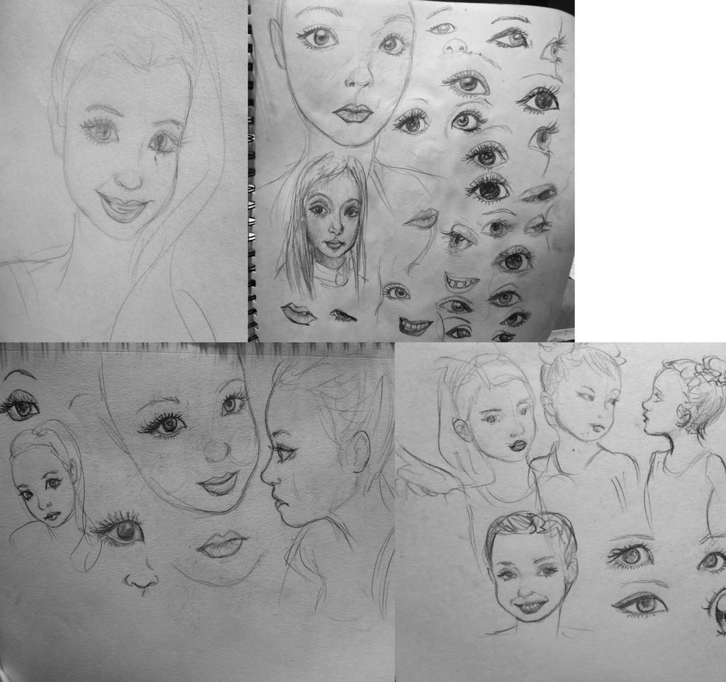 Todays girl face sketches by 17cherry