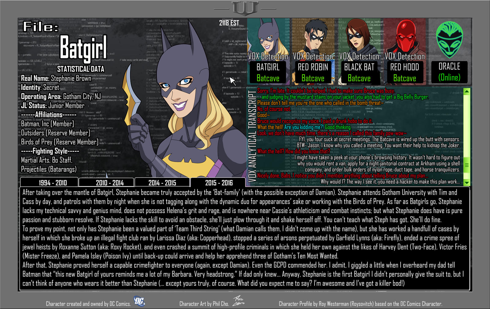 Oracle Files - Stephanie Brown 2015-2016