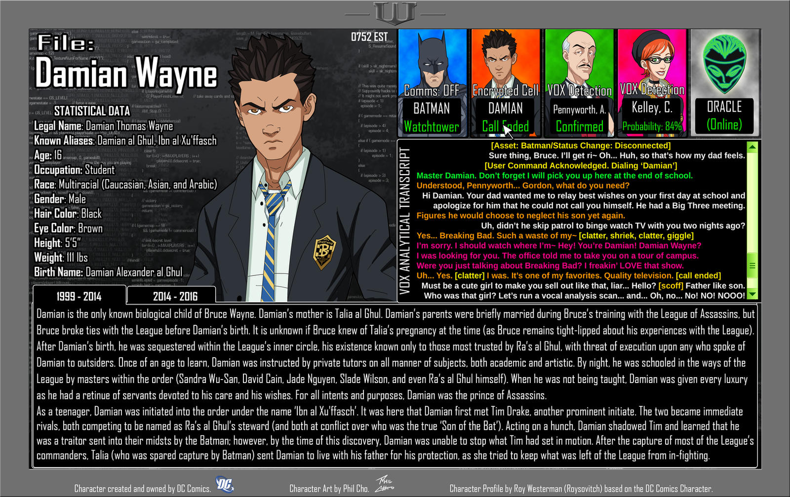 Oracle Files - Damian Wayne 1999-2014 by Roysovitch