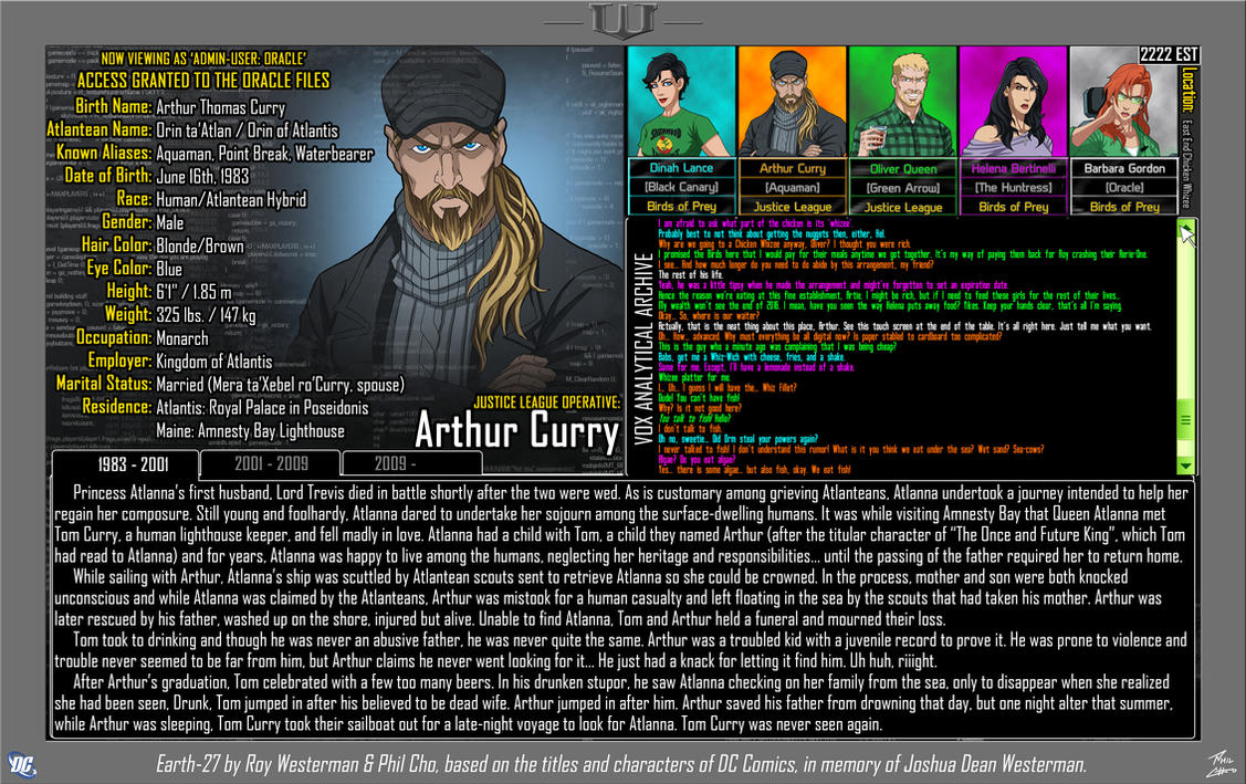 [Earth-27: Oracle Files] Arthur Curry (1/3) by Roysovitch