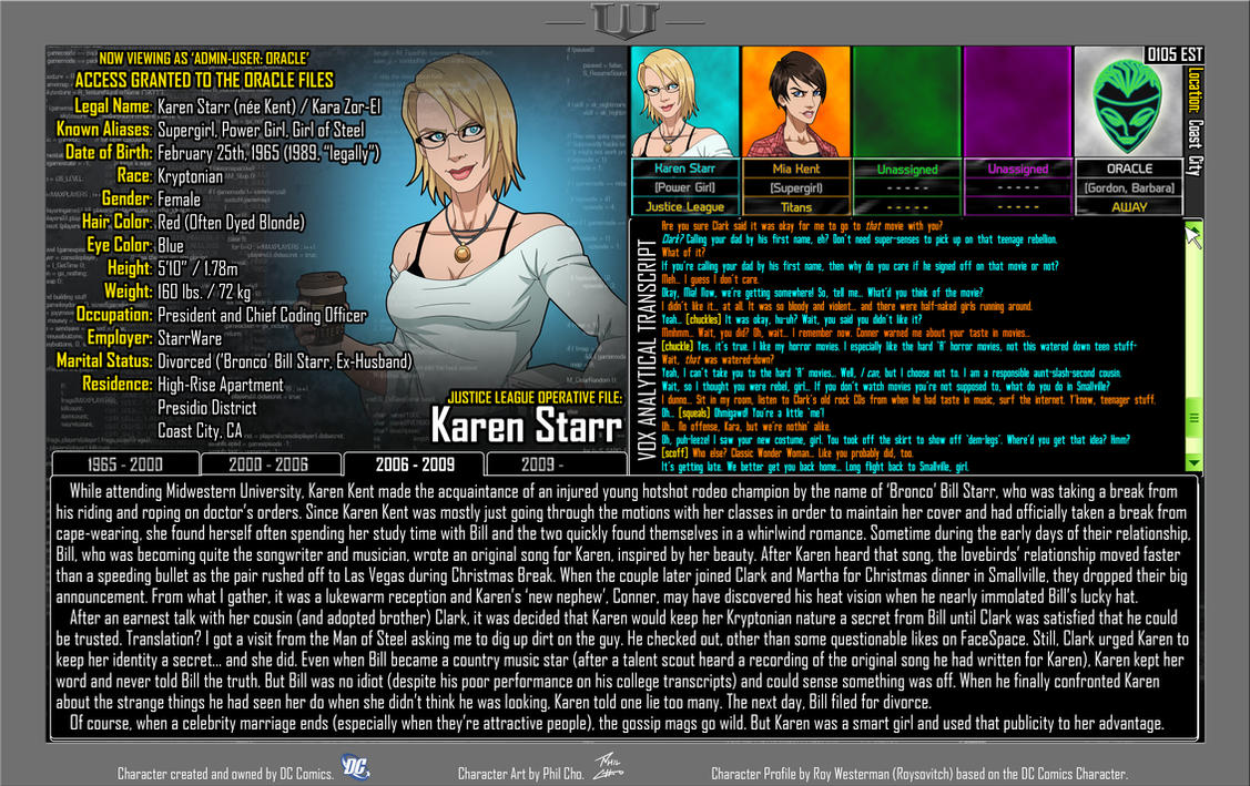 [Earth-27: Oracle Files] Karen Starr (Pg. 3/4) by Roysovitch