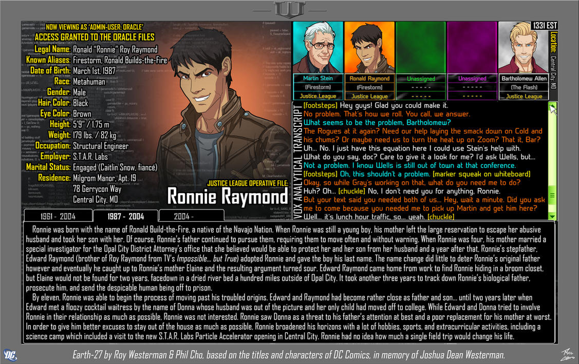 [Earth-27: Oracle Files] Ronnie Raymond by Roysovitch