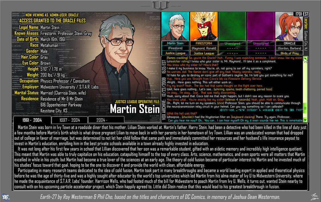 [Earth-27: Oracle Files] Martin Stein by Roysovitch
