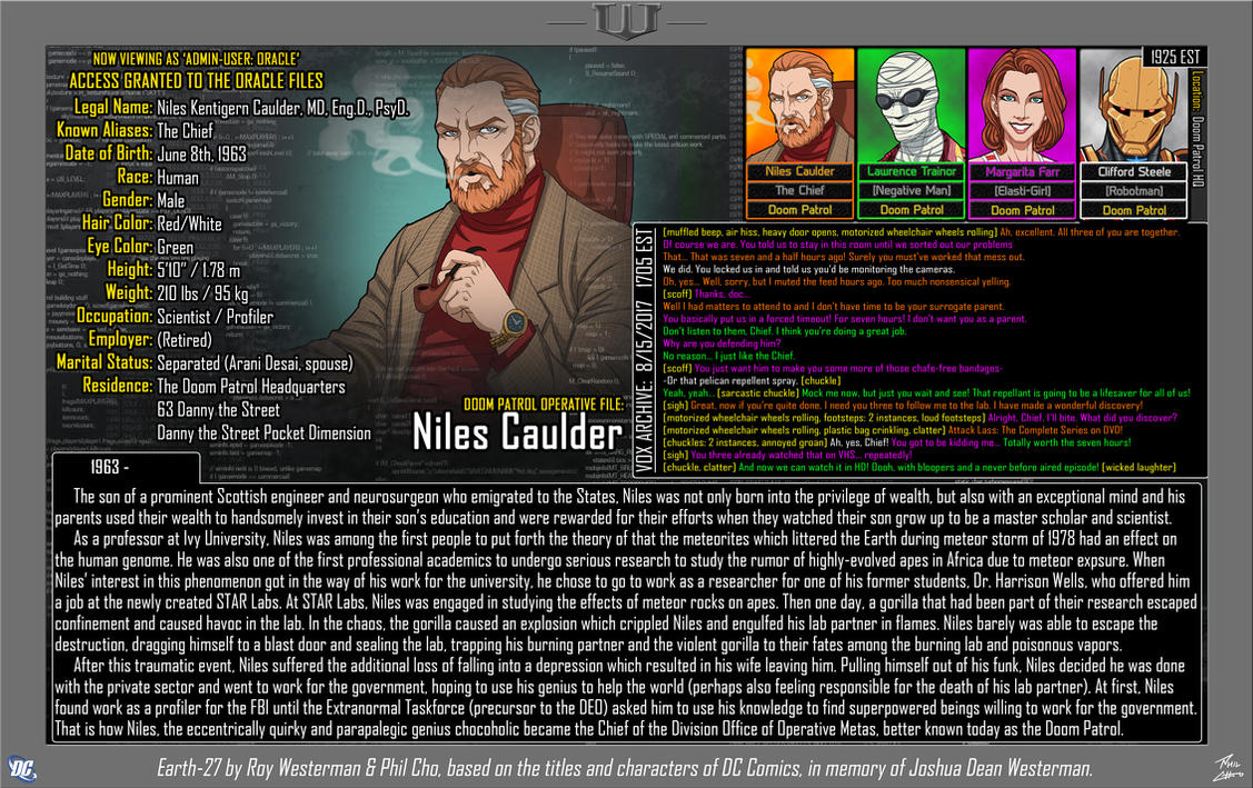 [Earth-27: Oracle Files] Niles Caulder by Roysovitch
