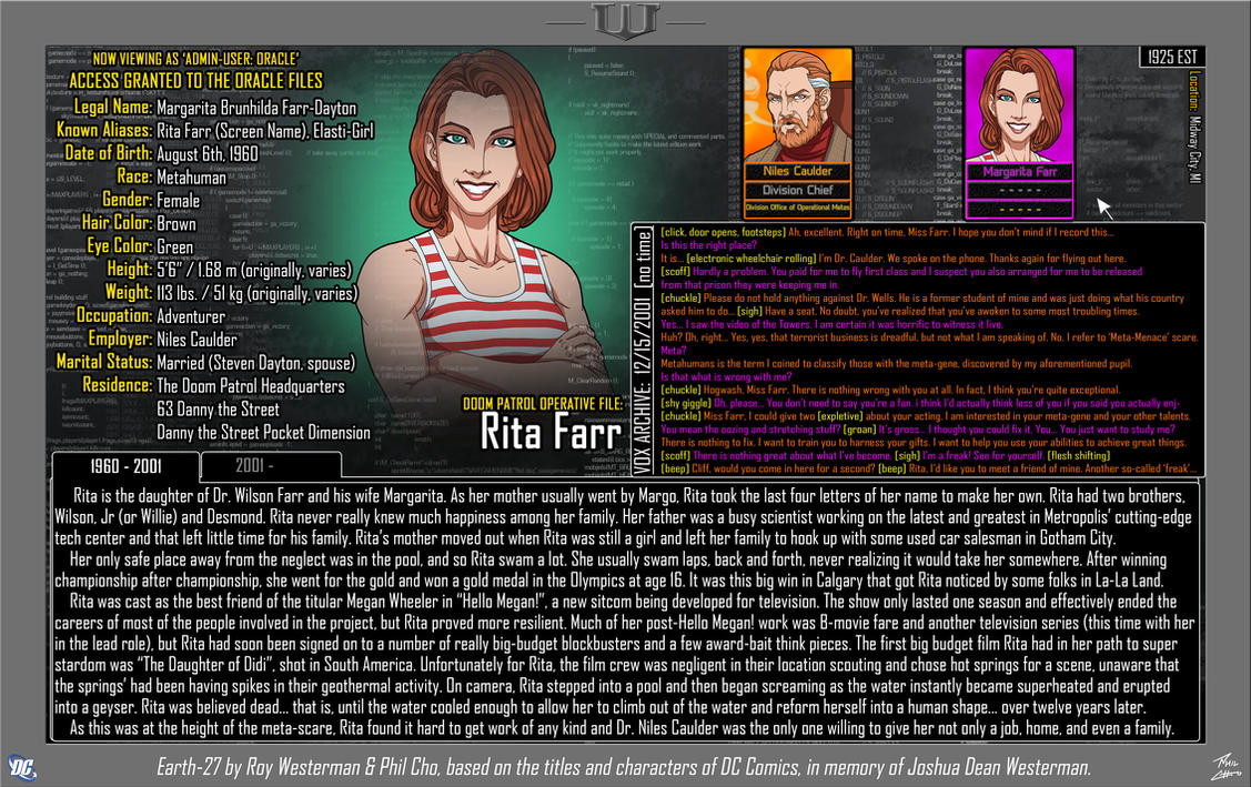 [Earth-27: Oracle Files] Rita Farr (Part 1) by Roysovitch