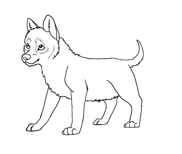 Simple Wolf Lineart : Easy wolf coloring pages