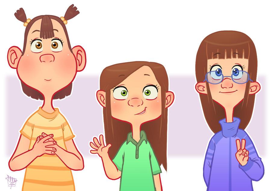 3 Girl Cartoon Characters : Three little girls by luigil on deviantart