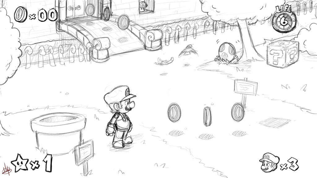 Super Mario Universe sketch by LuigiL on DeviantArt